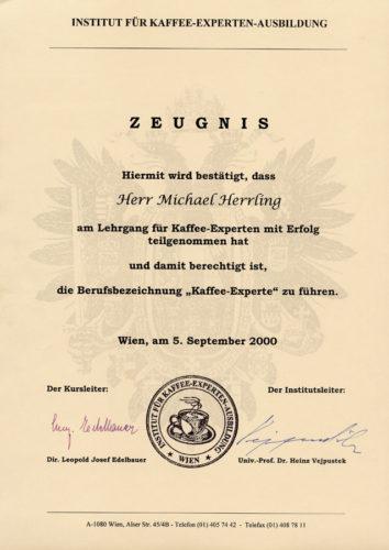 Zertifikat Kaffee-Experten-Ausbildung 2000