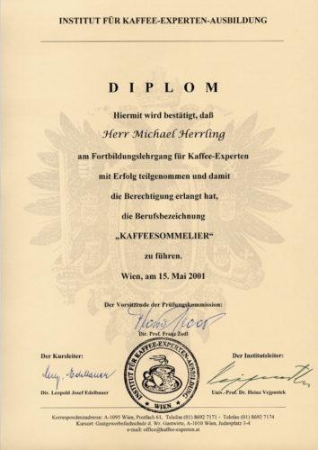 Zertifikat Kaffee-Sommelier 2001